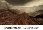 Dusty Martian crater basin with fractured terrain - stock photo
