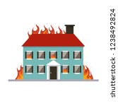 burning house. flame in home... | Shutterstock .eps vector #1238492824