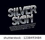 ultra bold silver font. vector... | Shutterstock .eps vector #1238493484