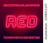 red neon tube alphabet font.... | Shutterstock .eps vector #1238511157