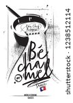 bechamel sauce flows from the... | Shutterstock .eps vector #1238512114