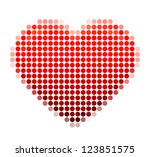 mosaic heart on the white... | Shutterstock .eps vector #123851575