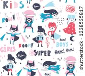 super hero kids. boys and girls.... | Shutterstock .eps vector #1238535817