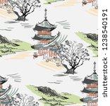 temple nature landscape view... | Shutterstock .eps vector #1238540191