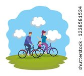 parents couple in bicycle with... | Shutterstock .eps vector #1238581534