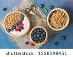 bowl of homemade granola with... | Shutterstock . vector #1238598451