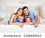 beautiful smiling family on... | Shutterstock . vector #1238600014