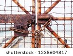 rusty old steel chain and rusty ... | Shutterstock . vector #1238604817