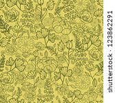 vector green autumn flowers... | Shutterstock .eps vector #123862291