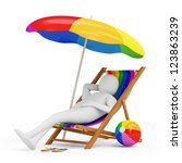 3d Man Lying on a Beach Chair with Umbrella and Different Accessories for Vacation - stock photo