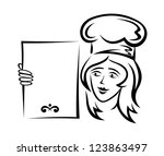 waiter with blank menu for... | Shutterstock . vector #123863497