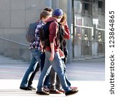 merry band of teenagers. urban...   Shutterstock . vector #123864865