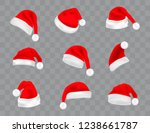 big set of realistic santa hats ... | Shutterstock .eps vector #1238661787
