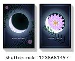 set card moon flower. green... | Shutterstock .eps vector #1238681497