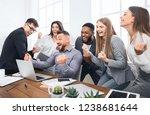 happy businesspeople triumphing ...   Shutterstock . vector #1238681644