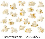 Popcorn Isolated On White...