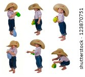 one small little girl wearing... | Shutterstock . vector #123870751