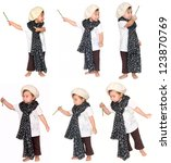 one small little girl wearing... | Shutterstock . vector #123870769