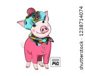 vector pig with blue hat  pink... | Shutterstock .eps vector #1238714074