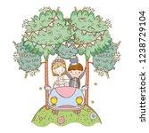 wedding couple on car cute...   Shutterstock .eps vector #1238729104