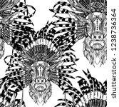 seamless pattern deer with... | Shutterstock .eps vector #1238736364