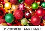 christmas baubles closeup... | Shutterstock . vector #1238743384