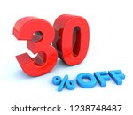 big red glossy 30 percent off... | Shutterstock . vector #1238748487