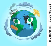 sad planet earth with... | Shutterstock .eps vector #1238753281