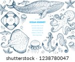 sea animals hand drawn... | Shutterstock .eps vector #1238780047