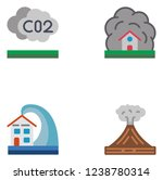 natural disasters. set icon eps ... | Shutterstock .eps vector #1238780314
