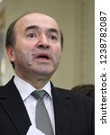 Small photo of Bucharest, Romania - February 27 2017: Tudorel Toader, the Minister of Justice of Romania, speaks during a press conference at the Parliament Palace, in Bucharest, Romania.