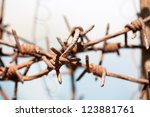 rusty old fences of barb wire... | Shutterstock . vector #123881761