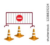orange traffic cone 3d and...   Shutterstock .eps vector #1238825224