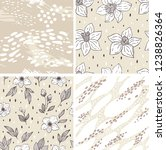 set with floral seamless... | Shutterstock .eps vector #1238826364