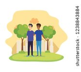 young and casual men in the park | Shutterstock .eps vector #1238843884