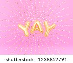 yay word letters golden burst... | Shutterstock . vector #1238852791