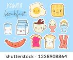 kawaii breakfast. various tasty ... | Shutterstock .eps vector #1238908864