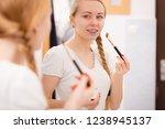 skincare. blonde woman in... | Shutterstock . vector #1238945137