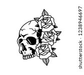 skull with rose flowers tattoo... | Shutterstock .eps vector #1238946697