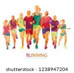 running marathon  people run  ... | Shutterstock .eps vector #1238947204