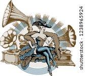 burlesque dancer and gramophone.... | Shutterstock .eps vector #1238965924