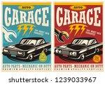 car service and garage retro... | Shutterstock .eps vector #1239033967