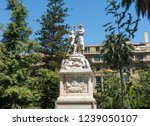 SANTIAGO DE CHILE, CHILE - JANUARY 26, 2018: Monument to the American Liberty, marble sculpture located in the center of the Plaza de Armas in Santiago, Chile. Work of Francesco Orselino.