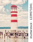 lighthouse in podersdorf am see ... | Shutterstock . vector #1239071041