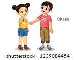 little kids shaking hands... | Shutterstock .eps vector #1239084454