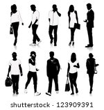 collection of people silhouettes | Shutterstock .eps vector #123909391