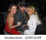 Small photo of LOS ANGELES - DECEMBER 02: Alicia Arden, Colin Farrell and Shanna Olson at a party for AXE Cologne for Men on December 02, 2006 at Playboy Mansion, Los Angeles, CA.