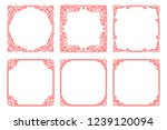 vector set of red square frames ... | Shutterstock .eps vector #1239120094