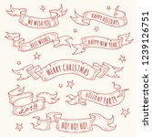 vintage hand drawn holiday... | Shutterstock .eps vector #1239126751