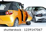 car accident. yellow micro car... | Shutterstock . vector #1239147067